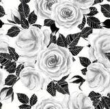 Sömlös modell för Wite rosvattenfärg Arkivfoto