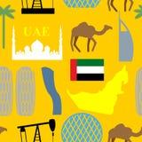 Sömlös modell Förenade Arabemiraten Öken och kamel och vän stock illustrationer