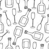 Sömlös modell från de hand drog champagnerflaskorna och glasna vektor illustrationer