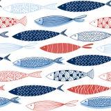 Sömlös modell från dekorativ fisk Royaltyfri Bild