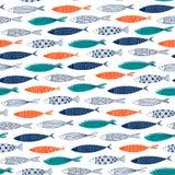Sömlös modell från dekorativ fisk Arkivfoton