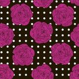 Sömlös modell från rosa rosor på en svart bakgrund med whit Arkivfoton