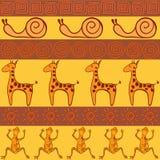 Sömlös modell i afrikansk stil royaltyfri illustrationer