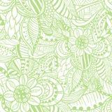 Sömlös modell i klotterstil i ljus - grön färg royaltyfri illustrationer