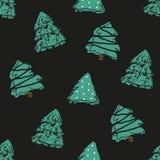 Sömlös modell i prick med gran-träd för handattraktiongräsplan stock illustrationer