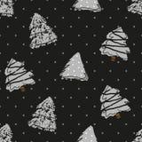 Sömlös modell i prick med gran-träd för handattraktiongrå färger stock illustrationer