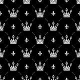 Sömlös modell i retro stil med en vit krona på en svart bakgrund Kan användas för tapeten, modellpåfyllningar, rengöringsduk Arkivfoton