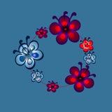 Sömlös modell i stilen av bohokransen med blommor Fotografering för Bildbyråer