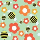 Sömlös modell i tecknad filmstil med det gulliga biet och blommor vektor illustrationer
