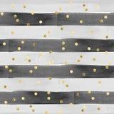 Sömlös modell i vattenfärgeffekt - horisontalband i svart och grå färger med guld- konfettier royaltyfri illustrationer