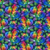 Sömlös modell - mångfärgade rosor på svart bakgrund arkivbild