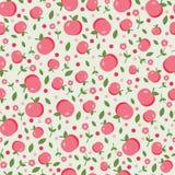 Sömlös modell med äpplen och blommor Fotografering för Bildbyråer