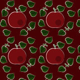Sömlös modell med äpplen och sidor Fotografering för Bildbyråer