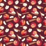 Sömlös modell med äpplen, skivor och kanelbruna pinnar på rödbrun bakgrund royaltyfri illustrationer