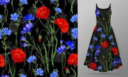 Sömlös modell med örter och lösa blommor, sidor Färgrik illustration för botanisk illustration på klänningmodell vektor illustrationer