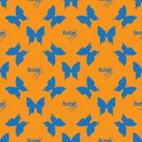 Sömlös modell med översiktsblåttfjärilar Arkivfoto