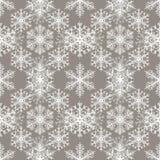 Sömlös modell med abstrakt bakgrund för snöflingor Tända - grå färgbakgrund vektor illustrationer