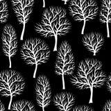 Sömlös modell med abstrakt begrepp stiliserade träd Naturlig bakgrund av vita konturer royaltyfri illustrationer