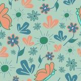 Sömlös modell med abstrakt begreppblommor och fjärilar stock illustrationer