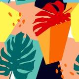 Sömlös modell med abstrakta former och tropiska sidor Moderiktig konst i collagestil vektor illustrationer