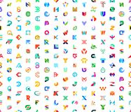 Sömlös modell med abstrakta logoer med bokstäver stock illustrationer