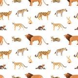 Sömlös modell med afrikanska och amerikanska djur på vit bakgrund Bakgrund med lösa rovdjur som bor i savannah vektor illustrationer