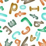 Sömlös modell med alfabetet Plastellinabokstäver för barn Tapet eller textil Arkivbilder
