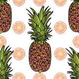 Sömlös modell med ananas stock illustrationer