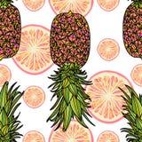 Sömlös modell med ananas Vektor Illustrationer