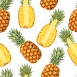 Sömlös modell med ananasfrukter vektor illustrationer