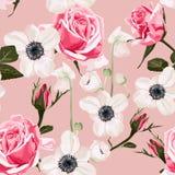 Sömlös modell med anemonen och rosa färgrosbakgrund royaltyfri illustrationer