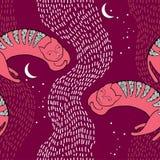 Sömlös modell med att sova den rosa katten Stock Illustrationer