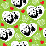 Sömlös modell med att sova pandor och hjärtor Vektor Illustrationer