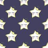 Sömlös modell med att sova stjärnor för ungar Gullig baby showervektorbakgrund Royaltyfri Fotografi