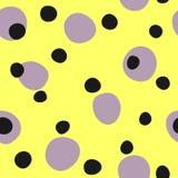 Sömlös modell med att upprepa runda fläckar Ojämn prick Gult purpurfärgat, svart vektor illustrationer