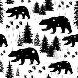 Sömlös modell med av björnar Arkivfoton