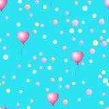 Sömlös modell med ballonger och konfettier royaltyfri illustrationer
