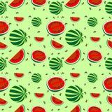 Sömlös modell med beståndsdelar av vattenmelon Royaltyfria Foton