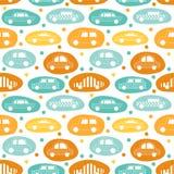 Sömlös modell med bils klistermärkear stock illustrationer