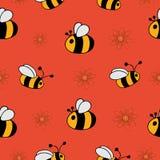 Sömlös modell med bin och blommor vektor illustrationer
