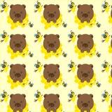 Sömlös modell med björnar, bin och honung Royaltyfria Bilder