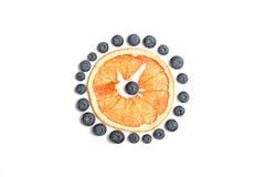 Sömlös modell med blåbäret och den torkade grapefrukten Fotografering för Bildbyråer