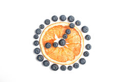 Sömlös modell med blåbäret och den torkade grapefrukten Arkivbild