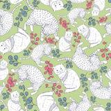 Sömlös modell med blom- beståndsdelar och tecknad filmkatter Royaltyfria Bilder