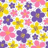 Sömlös modell med blom- utsmyckat för färg royaltyfri illustrationer