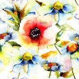 Sömlös modell med blomman Arkivfoto