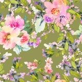 Sömlös modell med blommavattenfärgen Royaltyfria Bilder