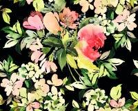 Sömlös modell med blommavattenfärgen Arkivfoto