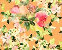 Sömlös modell med blommavattenfärgen Arkivbilder
