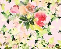 Sömlös modell med blommavattenfärgen Royaltyfria Foton